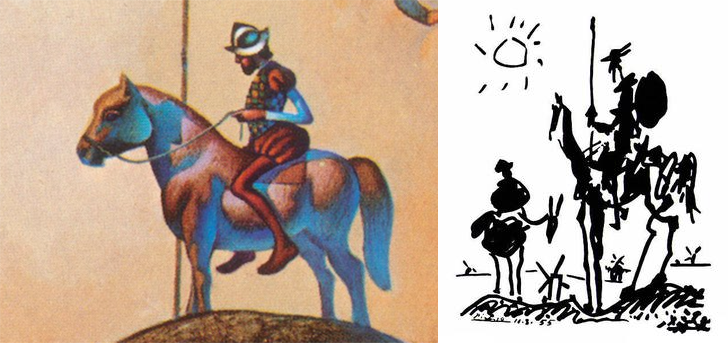 Comparison of Picaso's don quixote and the rider from image 6